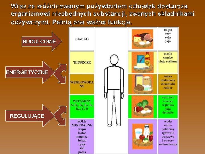 Wraz ze zróżnicowanym pożywieniem człowiek dostarcza organizmowi niezbędnych substancji, zwanych składnikami odżywczymi. Pełnią one