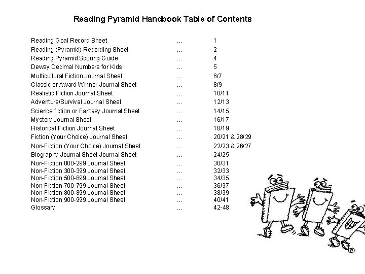 Reading Pyramid Handbook Table of Contents Reading Goal Record Sheet Reading (Pyramid) Recording Sheet