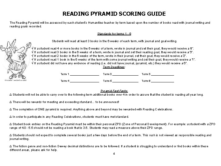 READING PYRAMID SCORING GUIDE The Reading Pyramid will be assessed by each student's Humanities