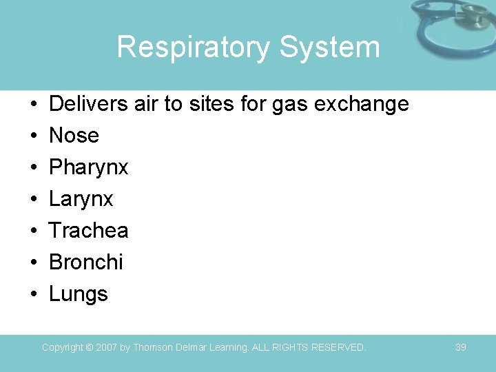 Respiratory System • • Delivers air to sites for gas exchange Nose Pharynx Larynx