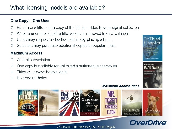 What licensing models are available? One Copy – One User Purchase a title, and