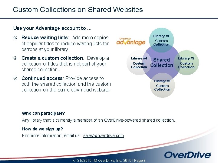 Custom Collections on Shared Websites Use your Advantage account to … Library #1 Custom