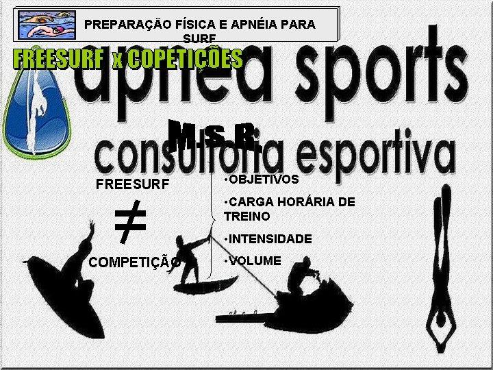 PREPARAÇÃO FÍSICA E APNÉIA PARA SURF FREESURF = COMPETIÇÃO • OBJETIVOS • CARGA HORÁRIA