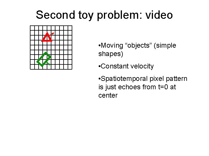 """Second toy problem: video • Moving """"objects"""" (simple shapes) • Constant velocity • Spatiotemporal"""