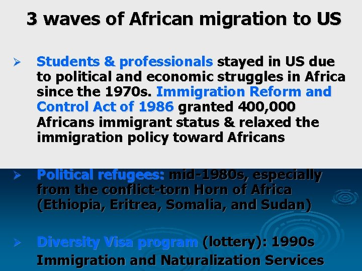 3 waves of African migration to US Ø Students & professionals stayed in US