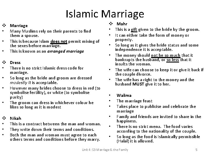 Islamic Marriage v Marriage • Many Muslims rely on their parents to find them