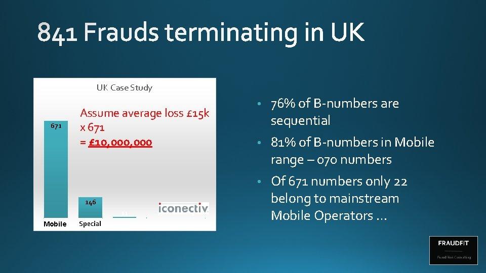 UK Case Study 671 Assume average loss £ 15 k x 671 = £