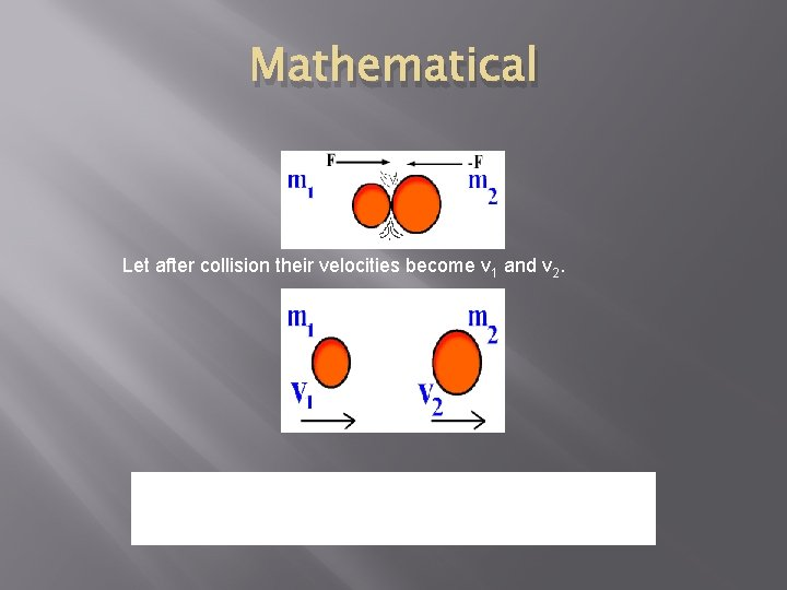 Mathematical Let after collision their velocities become v 1 and v 2. Total momentum