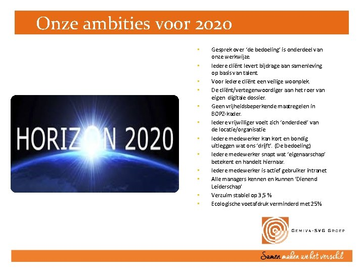 Onze ambities voor 2020 • • • Gesprek over 'de bedoeling' is onderdeel van