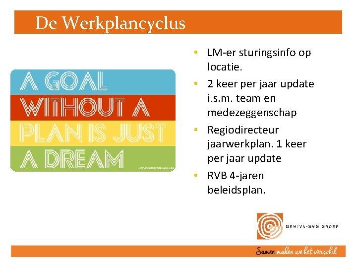 De Werkplancyclus • LM-er sturingsinfo op locatie. • 2 keer per jaar update i.