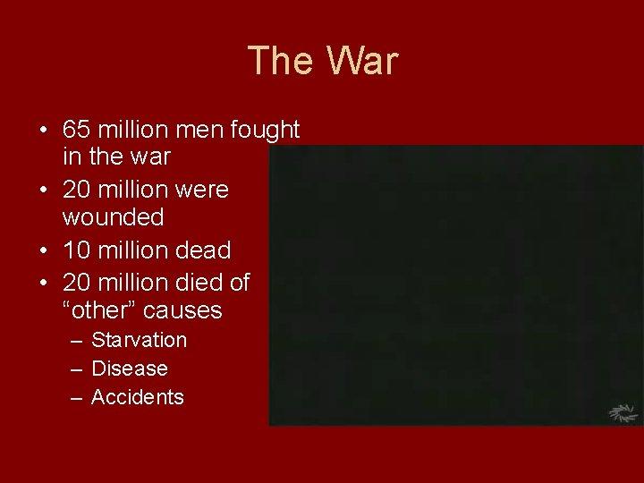 The War • 65 million men fought in the war • 20 million were