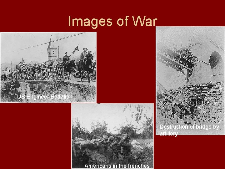 Images of War US Engineer Battalion Destruction of bridge by artillery Americans in the