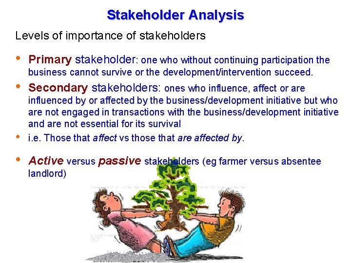 Stakeholder Analysis Levels of importance of stakeholders Primary stakeholder: one who without continuing participation