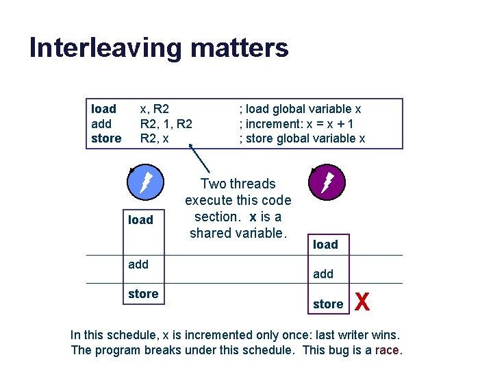 Interleaving matters load add store x, R 2, 1, R 2, x load add
