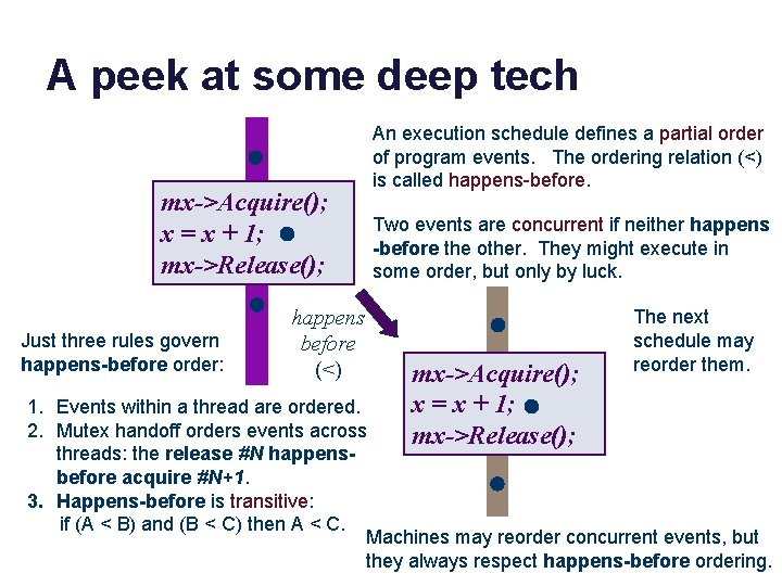 A peek at some deep tech mx->Acquire(); x = x + 1; mx->Release(); Just