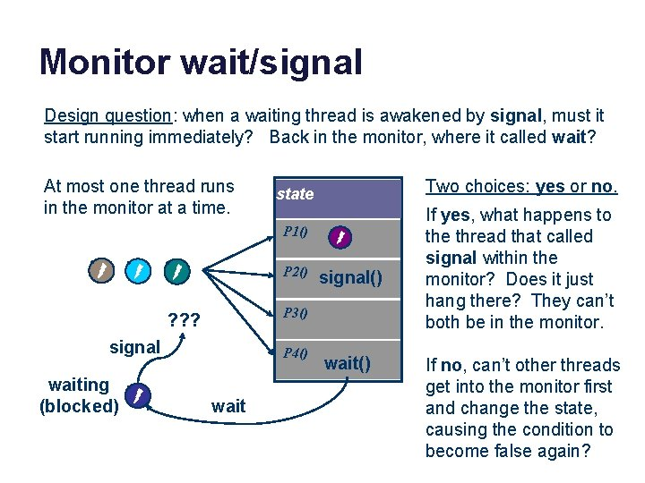 Monitor wait/signal Design question: when a waiting thread is awakened by signal, must it