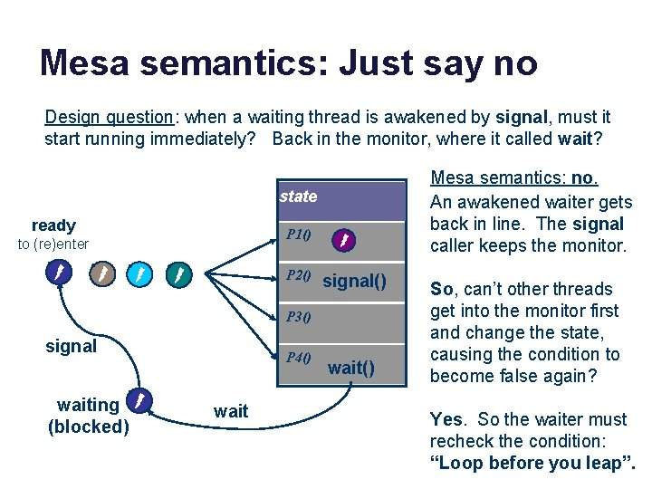 Mesa semantics: Just say no Design question: when a waiting thread is awakened by