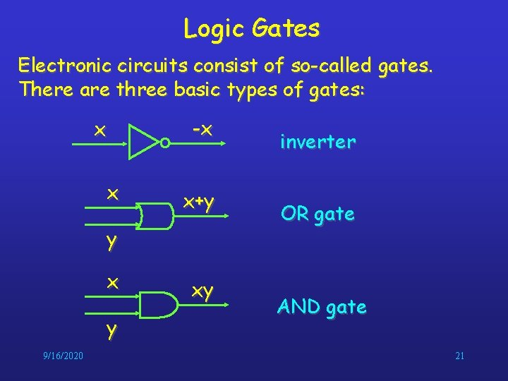 Logic Gates Electronic circuits consist of so-called gates. There are three basic types of