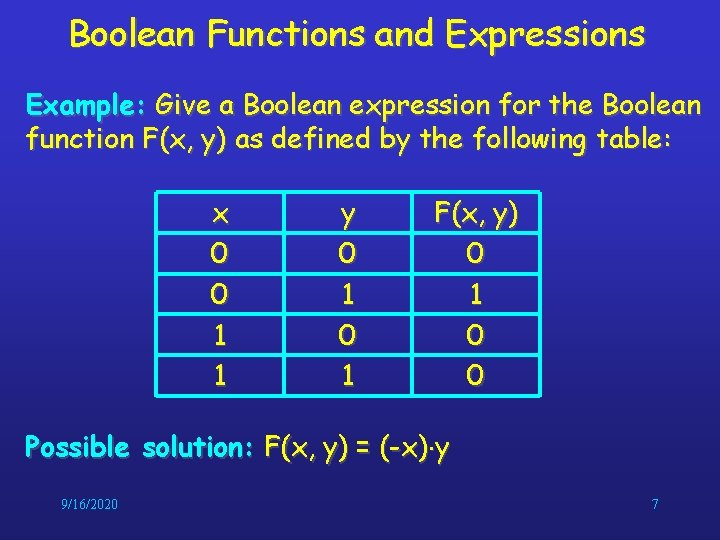 Boolean Functions and Expressions Example: Give a Boolean expression for the Boolean function F(x,