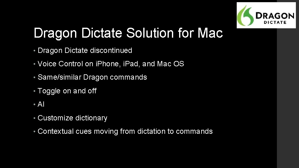Dragon Dictate Solution for Mac • Dragon Dictate discontinued • Voice Control on i.