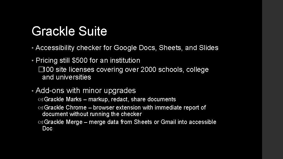 Grackle Suite • Accessibility checker for Google Docs, Sheets, and Slides • Pricing still