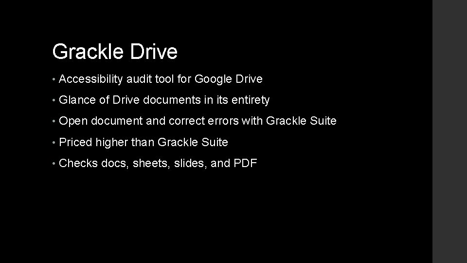 Grackle Drive • Accessibility audit tool for Google Drive • Glance of Drive documents