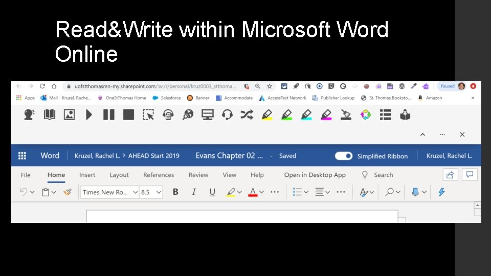 Read&Write within Microsoft Word Online