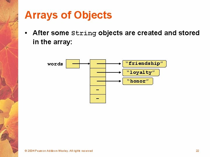 Arrays of Objects • After some String objects are created and stored in the