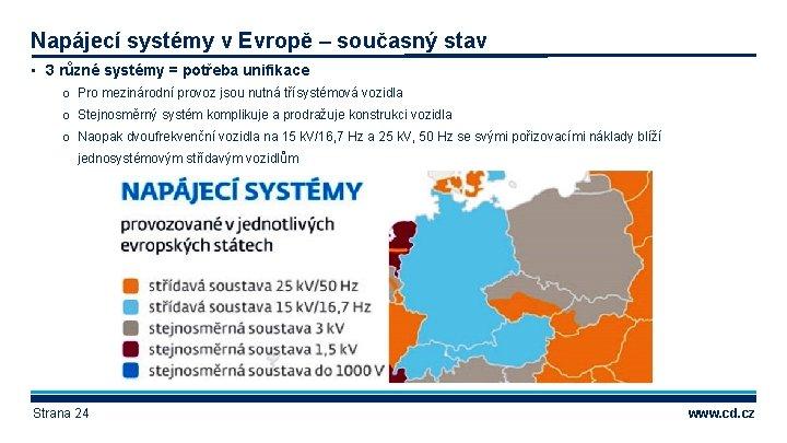 Napájecí systémy v Evropě – současný stav • 3 různé systémy = potřeba unifikace