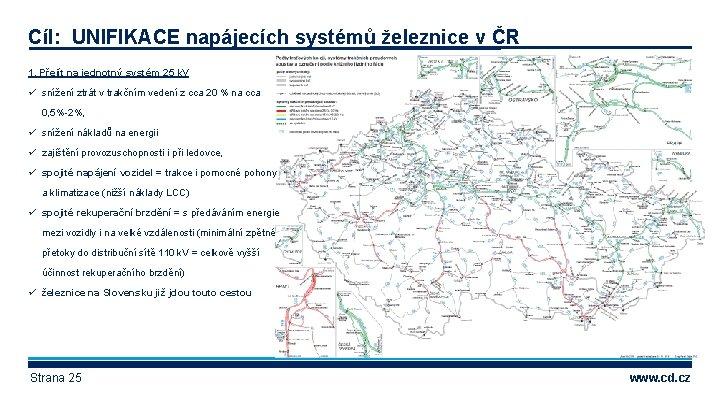 Cíl: UNIFIKACE napájecích systémů železnice v ČR 1. Přejít na jednotný systém 25 k.