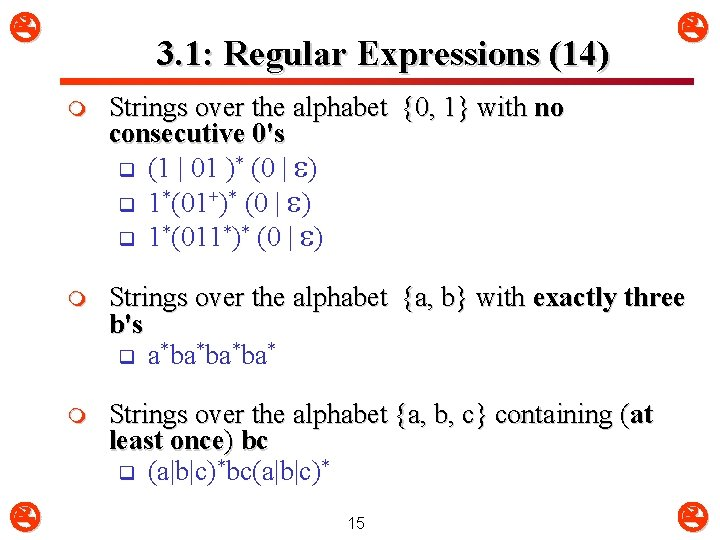 3. 1: Regular Expressions (14) m Strings over the alphabet {0, 1} with