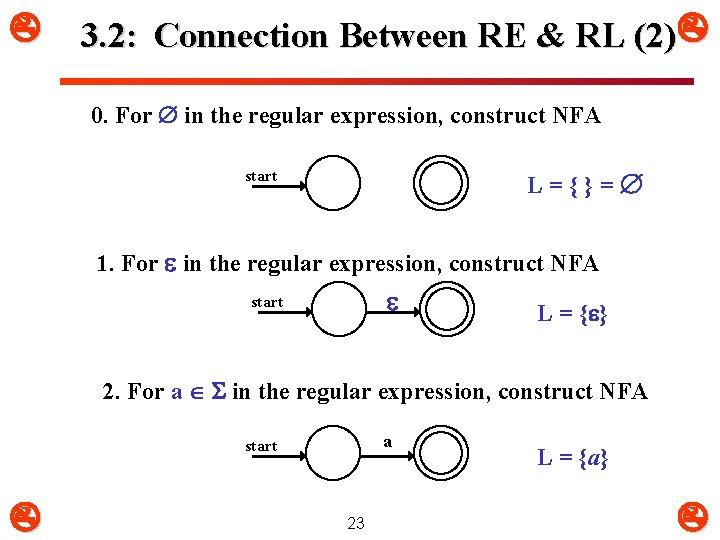 3. 2: Connection Between RE & RL (2) 0. For in the regular