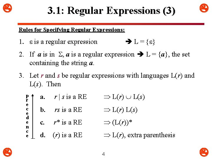 3. 1: Regular Expressions (3) Rules for Specifying Regular Expressions: 1. is a