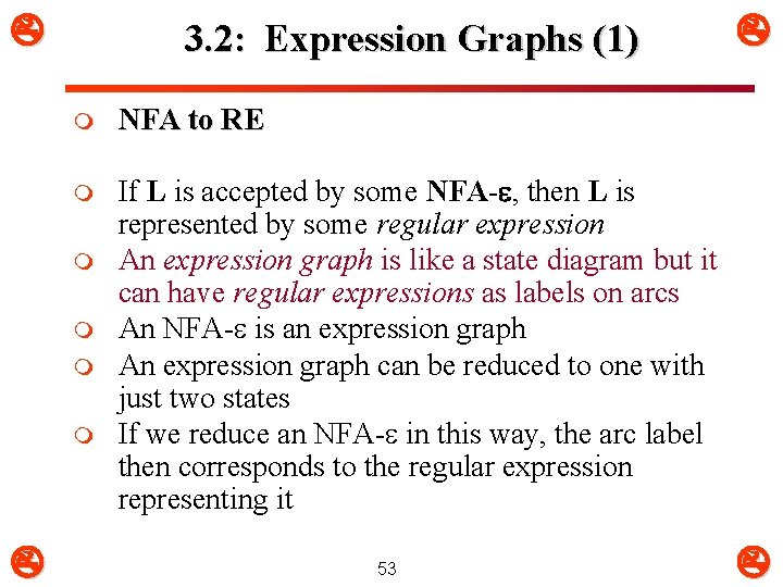 3. 2: Expression Graphs (1) m NFA to RE m If L is