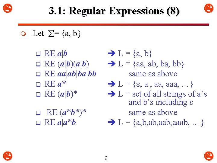 3. 1: Regular Expressions (8) m Let = {a, b} q q q