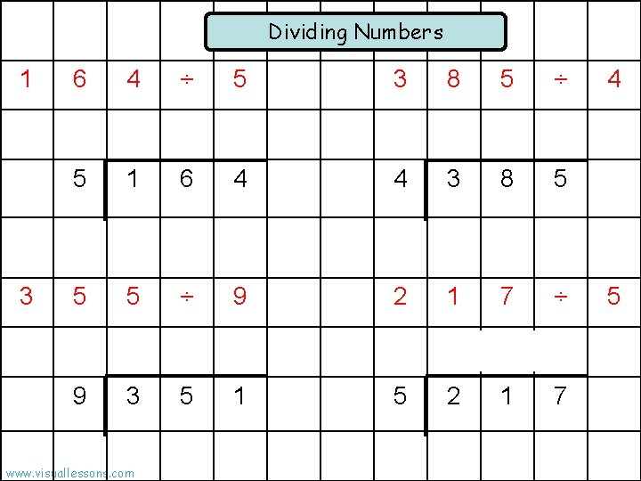 Dividing Numbers 1 3 6 4 ÷ 5 3 8 5 ÷ 5 1