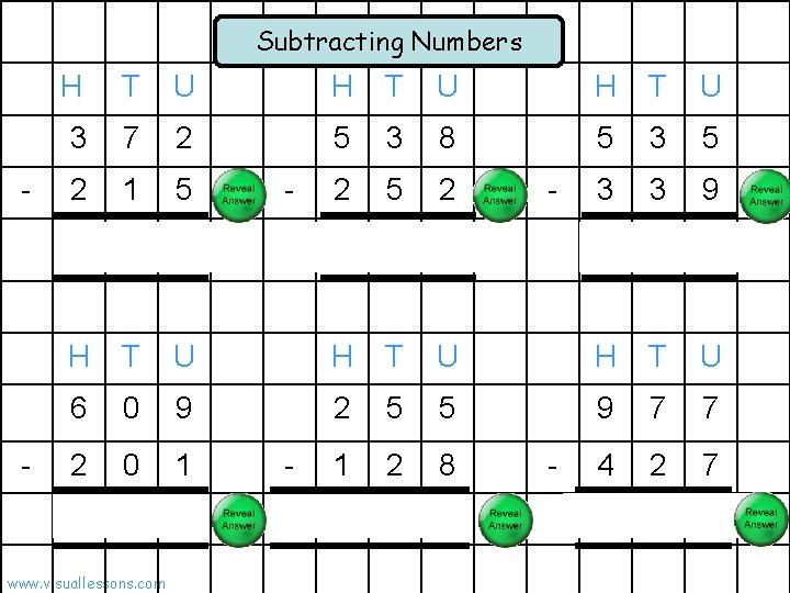 Subtracting Numbers - - H T U 3 7 2 5 3 8 5