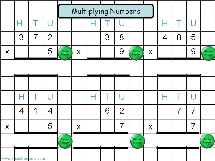 Multiplying Numbers H T U 3 7 2 x 1 5 T U H