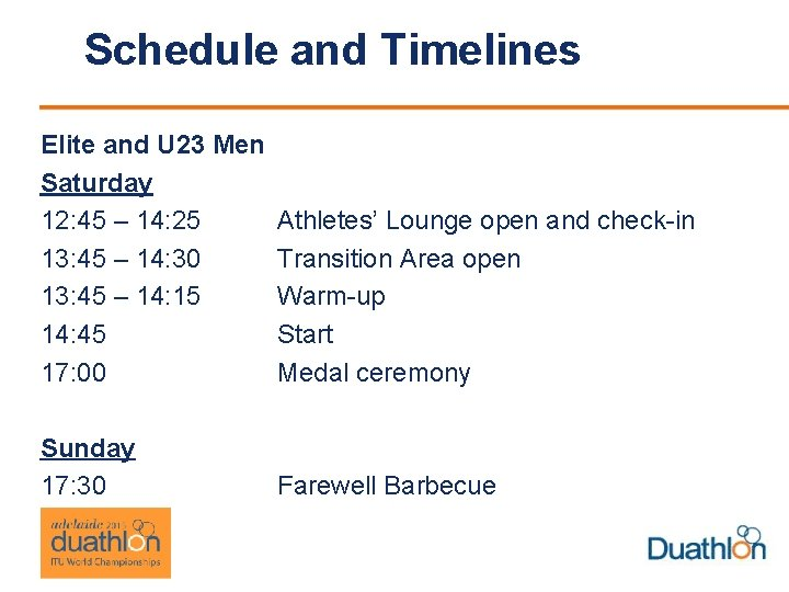 Schedule and Timelines Elite and U 23 Men Saturday 12: 45 – 14: 25