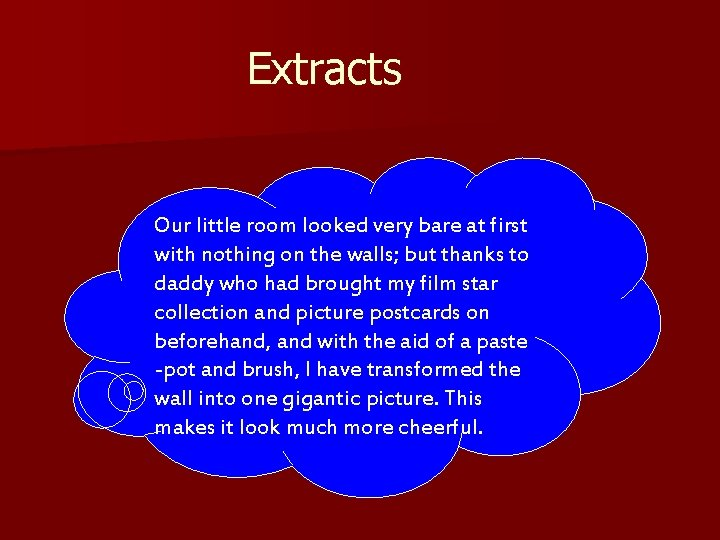 Extracts Our little room looked very bare at first with nothing on the walls;