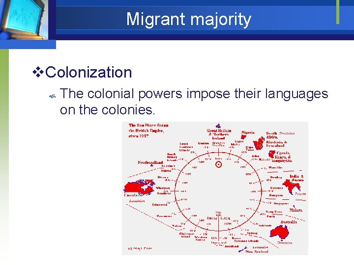 Migrant majority v. Colonization The colonial powers impose their languages on the colonies.