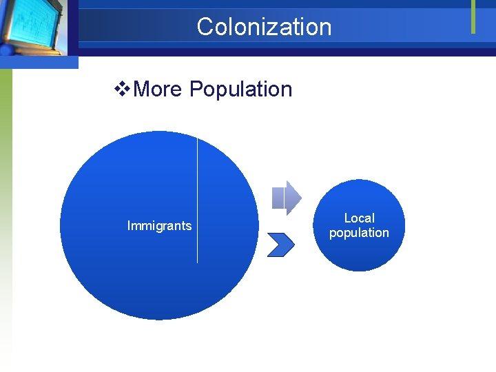 Colonization v. More Population Immigrants Local population