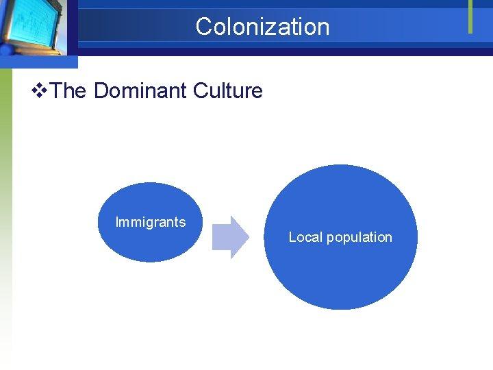 Colonization v. The Dominant Culture Immigrants Local population