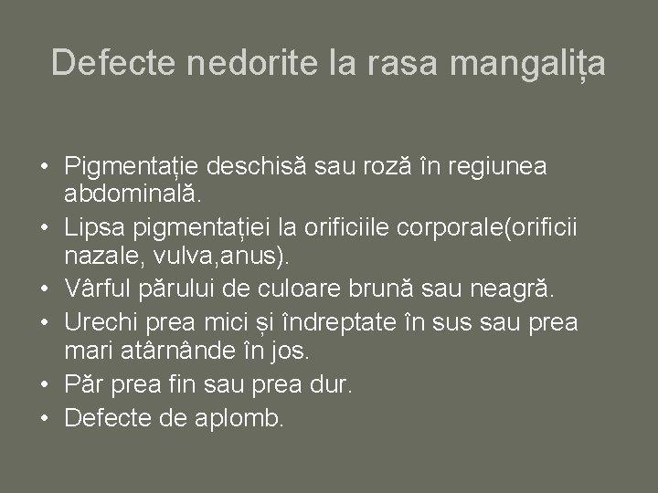 Defecte nedorite la rasa mangalița • Pigmentație deschisă sau roză în regiunea abdominală. •
