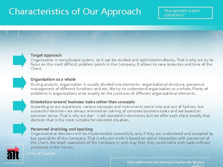 """Characteristics of Our Approach """"Management system optimization"""" Target approach Organization is complicated system, so"""
