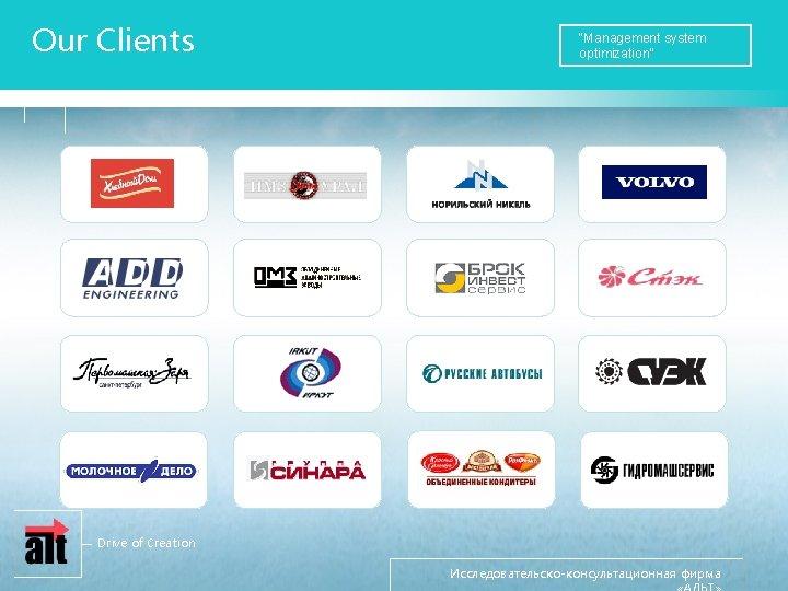 "Our Clients ""Management system optimization"" Drive of Creation Исследовательско-консультационная фирма"