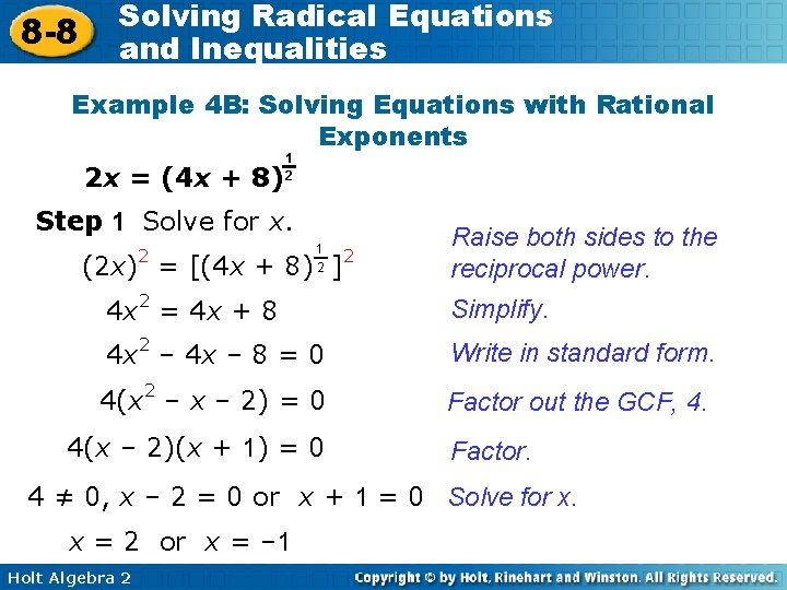 8 -8 Solving Radical Equations and Inequalities Example 4 B: Solving Equations with Rational