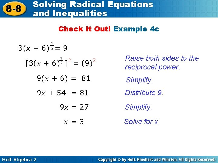 8 -8 Solving Radical Equations and Inequalities Check It Out! Example 4 c 1
