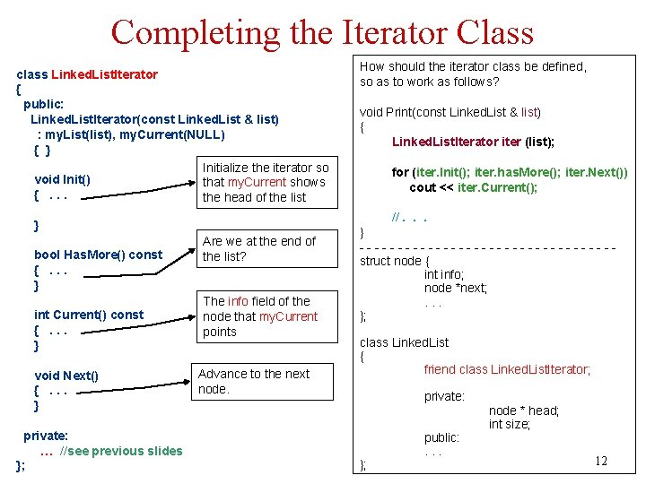 Completing the Iterator Class class Linked. List. Iterator { public: Linked. List. Iterator(const Linked.