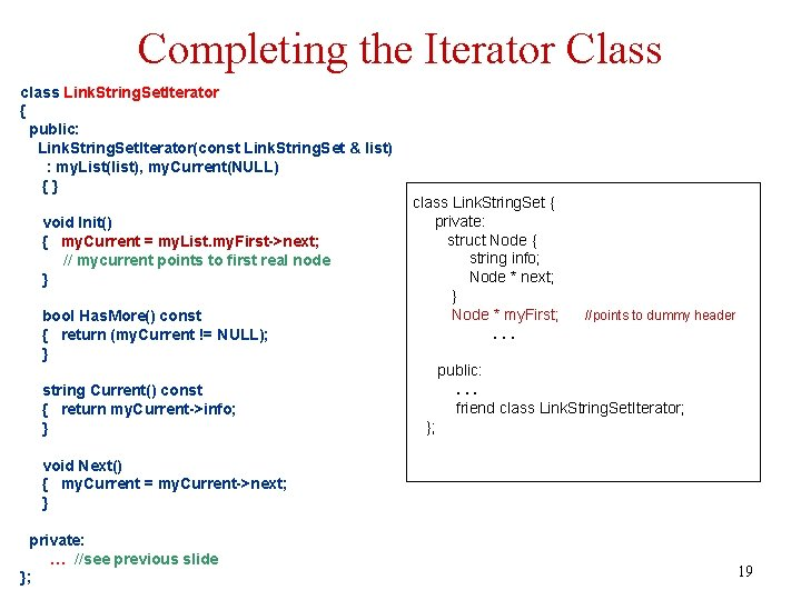 Completing the Iterator Class class Link. String. Set. Iterator { public: Link. String. Set.